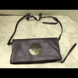 Authentic Mulberry Purple Leather Crossbody Bag